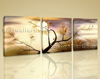 Large Abstract Impressionist Tree Painting Print On Canvas Bedroom Wall Art, Large Floral Wall Art, Bedroom, Champagne