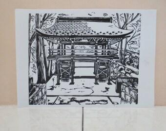 Japan Linocut, Shikoku Henro, Art print, Handpulled print, Black and White, 13x11 inches