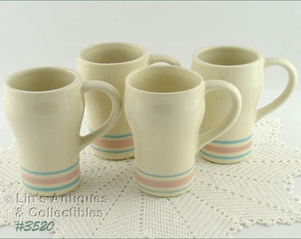 McCoy Pottery Set of Four Vintage Stonecraft Pink and Blue Tall Mugs (Inventory #3520)
