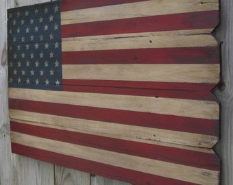 Rustic Wooden American Flag, 22 X 36 inches. Made from recycled fencing. Free Shipping V