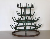 French Vintage Bottle Drying Rack Loft Decor Original Green Paint Industrial