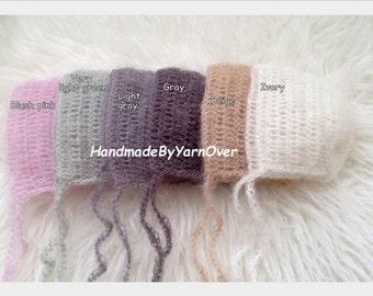 Crochet Mohair Bonnet - Newborn Photography Props- Baby Crochet Mohair Hat