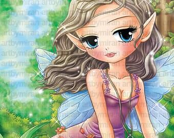 Fairy Digital Digi Stamps -Shaylee, Fantasy digi stamp, Big Eye Doll Coloring Page,  Instant Download Line Art for Card