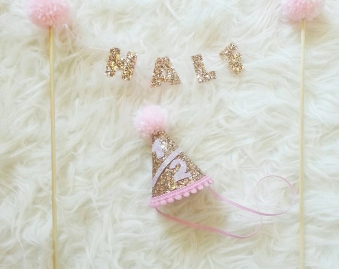 Half Birthday CAKE Banner and Mini Party Hat Set | Cake Smash | Half Birthday hat | Birthday Hat | Baby Hat