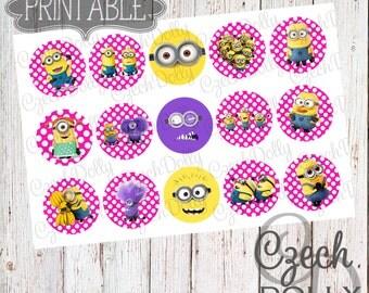 Minion Minions Pink Polka Dots Bottle Cap Images 4x6 JPEG 1 inch Printable Bottle Cap Images {300dpi} INSTANT DOWNLOAD