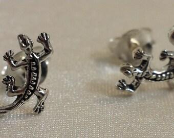 Sterling Silver tiny gecko earrings, lizard post earrings