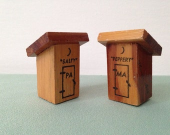 Salt and Pepper Shakers: His and Hers Souvenir Outhouses