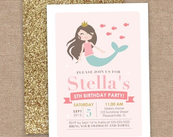 Girl Mermaid Birthday Invitation, Pink and Glitter, DIY Printable