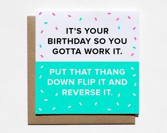 Funny Greeting Card, Funny Birthday Card, Best Friend Birthday, Birthday Card Friend, Happy Birthday Card, 21st Birthday, 90's Card, Work It