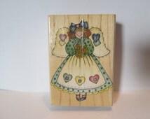 "Hero Arts ""Heart Patch Angel"" Rubber Stamp Scrapbooking Cardmaking"
