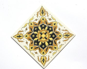 Retro Ceramic Tile, Bohemian Ceramic Wall Decal, Mediterranean Wall Sticker Tile, Greek Ceramic Art, Bohemian Wall Tapestry, Ceramic Tile