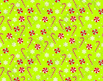Lime candy cane and snowflake craft  vinyl sheet - HTV or Adhesive Vinyl -  winter Christmas pattern HTV1700