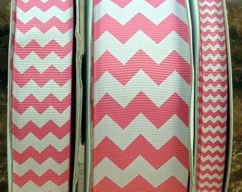 """2 Yards 3/8"""", 7/8"""" or 1.5"""" Hot Pink Chevron Print Grosgrain Ribbon - US Designer"""