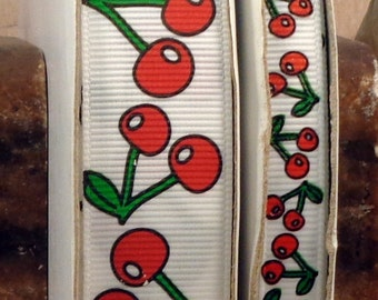 "2 Yards 3/8"" or 7/8"" White Cherry Print Grosgrain Ribbon - US Designer"
