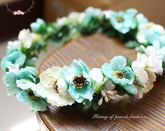 Flower quarter wreath summer red white blue green floral hair accessories