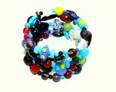 Colorful Glass Bead Memory Wire Bracelet: Tribal-African Style