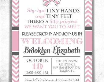 bow baby shower invitation chevron shower invitation preppy baby shower printable invitation - Adoption Party Invitations