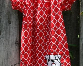 Red quatrefoil georgia bulldogs applique peasant dress