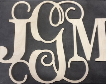 34 inch Block Vine Wooden Monogram