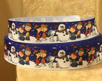 5 YDS Charlie Brown Holiday Ribbon