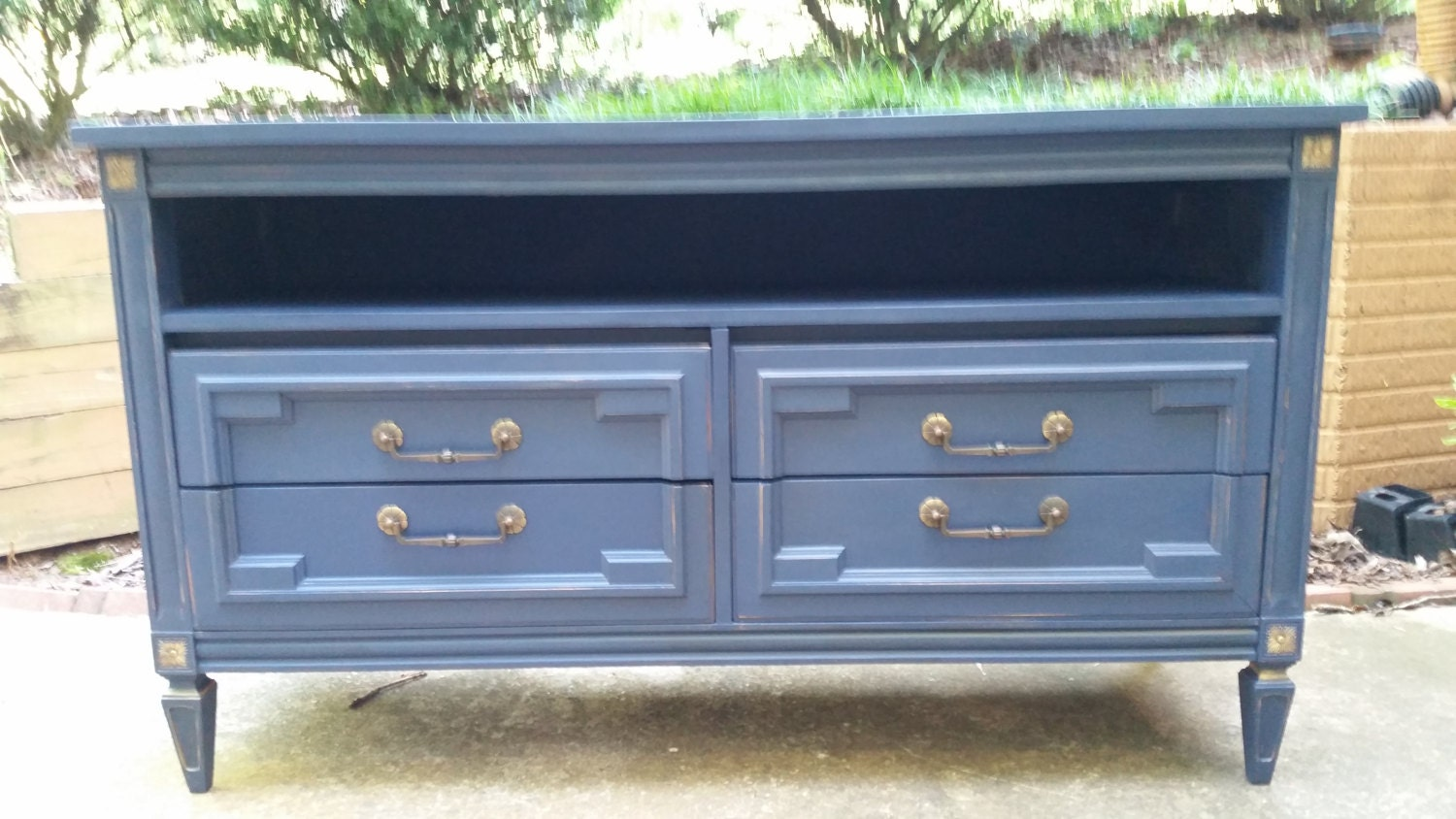 Console table tv media cabinet navy blue with gold - Table haute console ...