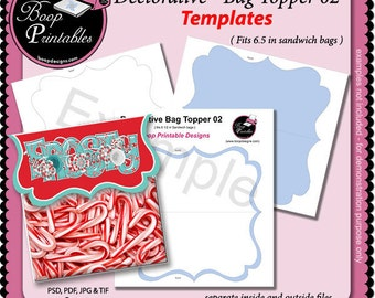 Decorative Bag Topper 02 - Gift or Party Favor TEMPLATE by Boop Printables