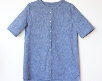 Women blouse summer shirt with short sleeves, 100% COTTON 36/S size - oversize style