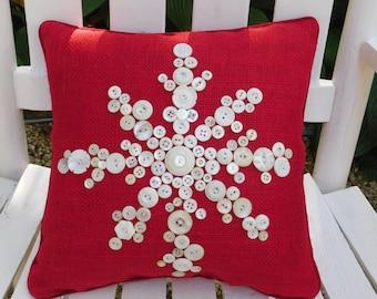 Christmas Pillow, Holiday Pillow, Snowflake Pillow, Christmas Throw Pillow, Christmas Decorative Pillow, Merry Christmas Gift, Red Snowflake
