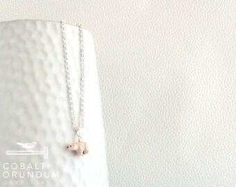 Polar bear pendant on 925 sterling silver necklace | ceramic white polar bear pendant