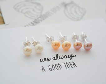Pearl studs, pearl earrings with sterling silver backs/posts