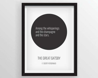 The Great Gatsby Minimal Quote Poster - F. Scott Fitzgerald - A3 and 13 x 19 Available