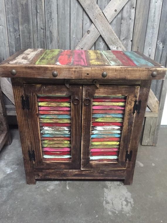 Rex crown reclaimed wood multi color nightstand night stand for Multi night stand