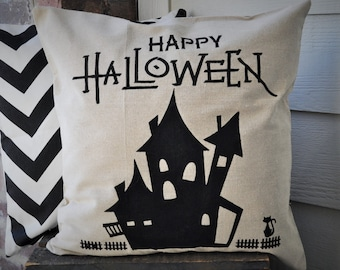 Halloween Pillow Cover, Haunted House Pillow Cover, Halloween Decor, Fall pillow