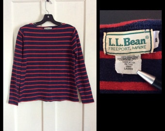 Vintage 1980's LL Bean French Sailor Striped Long Sleeve Tshirt size Medium Red Navy Blue