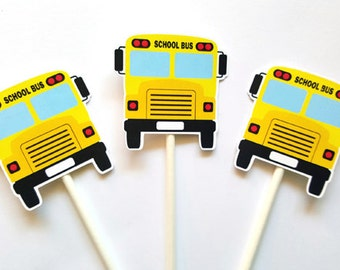 School Bus Cupcake Toppers