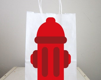 Fire Hydrant Goody Bags, Firetruck Goody Bags, Firetruck Favor Bags, Fireman Birthday Goody Bags, Firefighter Goody Bags