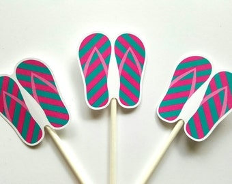 Flip Flop Cupcake Toppers - Beach Cupcake Toppers - Beach Party Cupcake Toppers