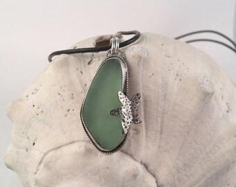 Sea Glass Necklace, Starfish Necklace, Sea Glass Pendant, Green Sea Glass, Beachy Necklace, Seaglass Jewelry, Seaglass Necklace, Starfish