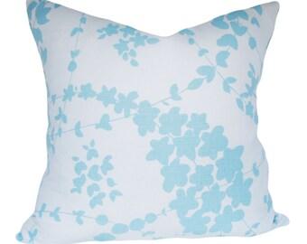 China Seas Blue Floral Decorative Pillow Cover - Quadrille - Throw Pillow - Toss Pillow - White Linen Back - 12x20, 14x24, 18x18, 20x20