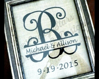 Monogram Burlap Sign 8x10