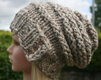 Hand Knit hat- Womens hat- Cream- Oatmeal- slouchy- beanie hat- winter hat with 3 natural coconut buttons- Womens Accessories