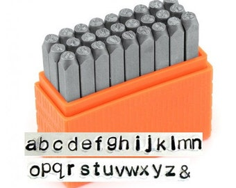BASIC Alphabet LOWERCASE, ImpressArt Stamping Kit, 3mm, Lower Case Sans Serif aka Arial Font, Tool for Stamped Jewelry Blanks Leather Clay