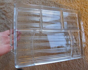 Vintage Large Ribbed Glass Compartmented Serving Tray
