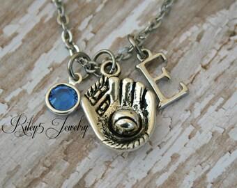 Baseball Necklace- choose a birthstone and initial, Baseball Jewelry, Baseball Mom, Baseball Gift, Personalized Baseball, Baseball Charm