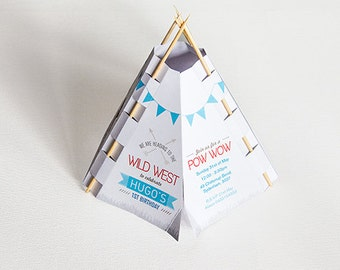 Cowboys and Indians or Pow Wow Teepee invitation