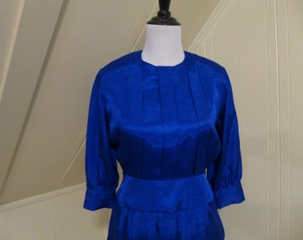 Vintage 1980s Blue Frock Dress Small / Royal Blue / Shoulder Pads