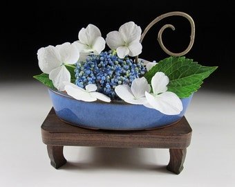 Shallow Blue Bonsai Pot