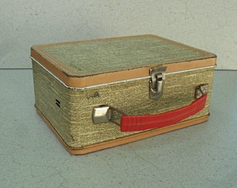 Vintage tin lunchbox , tin sandwich box , school lunch box , tin suitcase.