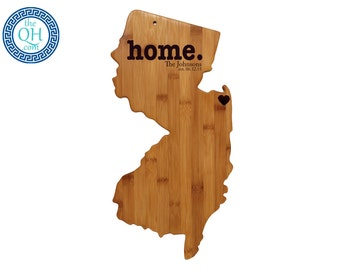 New jersey gift etsy new jersey personalized cutting board home custom housewarming or unique wedding gift negle Gallery
