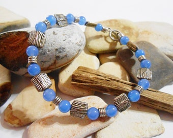 Blue Stone Bracelet and Earrings | Blue Agate | Blue Earrings | Blue Stone Bracelet | Bracelet Set | Bracelets for Women | Blue Gemstone